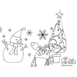 Coloriage du renne et du bonhomme de neige devant le sapin de Noël