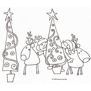 Coloriage des rennes, Père Noël et lutins dans les sapins