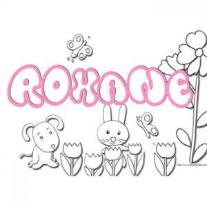 Coloriage prénom Roxane