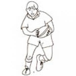 Coloriage d'un joueur de rugby courant avec le ballon ovale