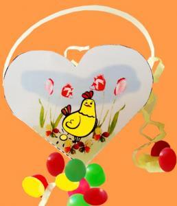 Panier coeur à oeufs de Pâques à imprimer et coller