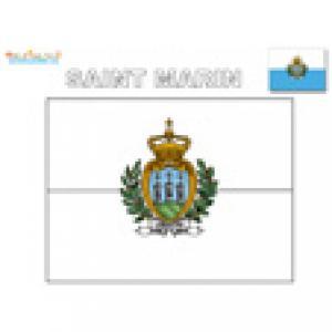 Dessin du drapeau de Saint Marin à terminer. Pour terminer le coloriage, le drapeau de saint Marin doit être colorié en bleu et blanc.