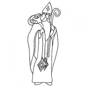 Coloriage de saint Nicolas et son sac cadeaux