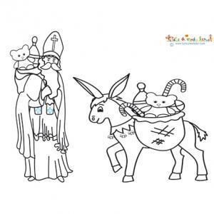 Coloriage de saint Nicolas et son âne