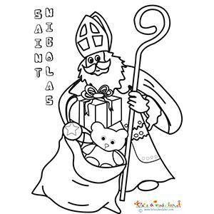 Saint Nicolas sort les cadeaux de son sac