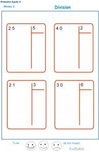 divisions sans reste  basées sur les tables de multiplication exercice 1