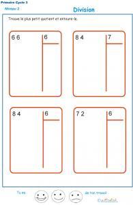 divisions sans reste  basées sur les tables de multiplication exercice 10