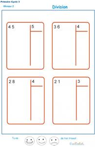 divisions sans reste  basées sur les tables de multiplication exercice 2
