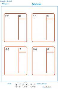 divisions sans reste  basées sur les tables de multiplication exercice 6