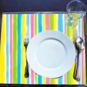 Bricolage set de table rayure bayadère