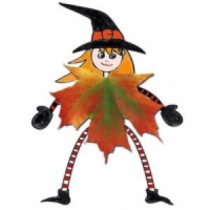 Sorcière en robe d'automne