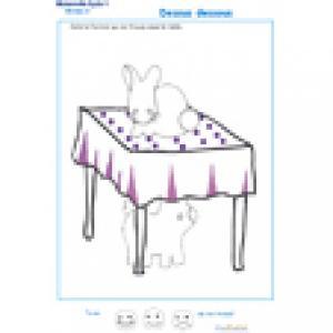 Fiche d'activité à imprimer sur le repérage spatial : exercice 2 dessus dessous lapin et cochon