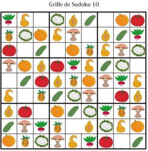 Sudoku pour la maternelle : grille 10 fruits et légumes