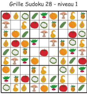 Sudoku 28 sur les légumes - maternelle