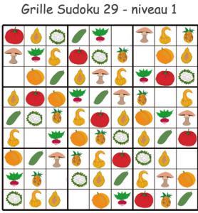 Sudoku 29 sur les légumes - maternelle