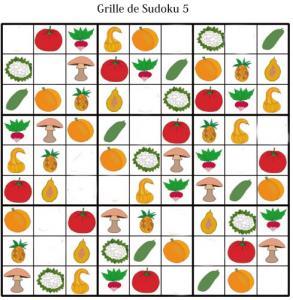 Sudoku pour la maternelle : grille 5