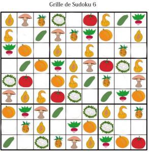 Sudoku pour la maternelle : grille 6