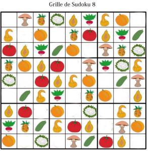 Sudoku pour la maternelle : grille 8