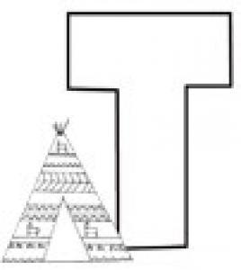 Colorie le T de l'alphabet comme TENTE