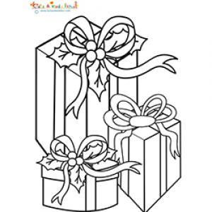 Coloriage de cadeaux en tas