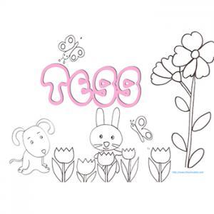Coloriage prénom Tess