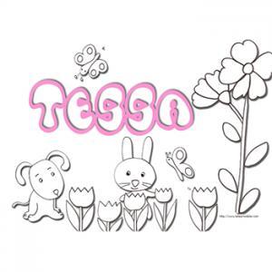 Coloriage prénom Tessa
