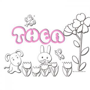 Coloriage prénom Thea