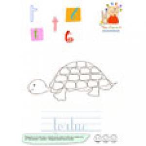 T du mot tortue de l'imagier des lettres minuscules