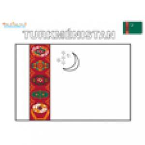 Coloriage du drapeau du Turkmenistan