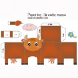 Vache rousse en papier à imprimer