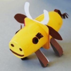 Vache en pots recylés