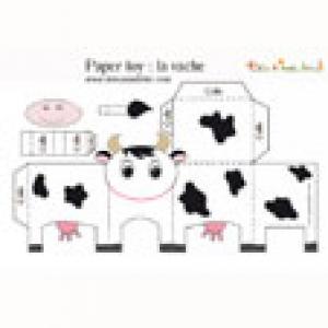 Paper toy vache noire et blanche à imprimer