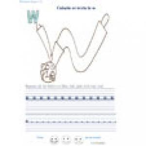 Ecrire et colorier la lettre w en alphabet cursif