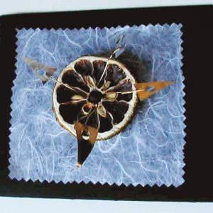 carte décorée d'une orange séchés et d'épices