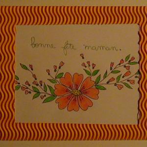 Réalisation de la carte fleurie d'un coloriage