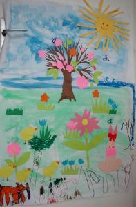 Tableau de printemps réalisé avec des collage