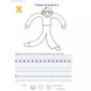 Ecrire et colorier la lettre x en alphabet cursif