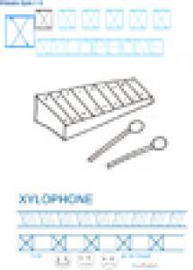 Exercice d'écriture et de graphisme : X et XYLOPHONE