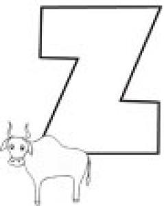 Colorie le Z de l'alphabet comme ZEBU