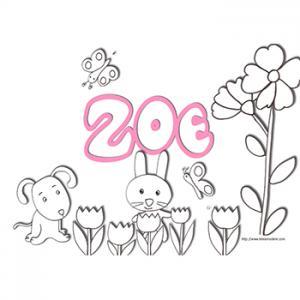 coloriage prénom Zoé