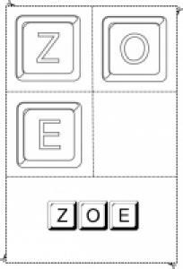 jouer avec les lettres du prénom Zoe