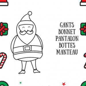 Un jeu à imprimer sur l'identification des vêtements du Père Noël qu'il faudra relier au dessin