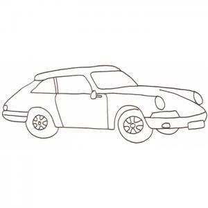 Coloriage voiture sportive : un cabriolet