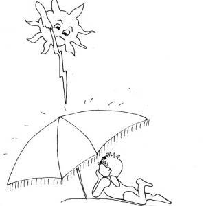 Imprimer le coloriage : le parasol protège du soleil Des coloriages à imprimer gratuitement