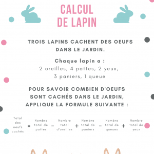 Imprimer le jeu de calcul de lapin calin 3 Un jeu de calcul pour les enfants sur le thème de Pâques