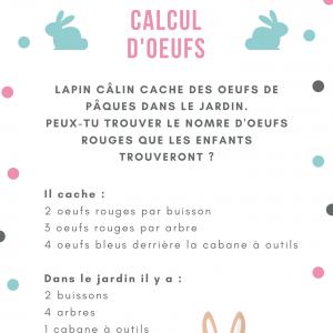 Un jeu de calcul de Pâques à imprimer : Lapin câlin cache des oeufs de Pâques pour les petits enfants du jardinier.