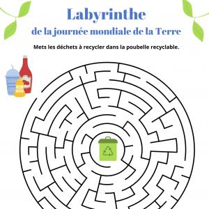 Un jeu de labyrinthe à imprimer pour jouer et parler du recyclage et des déchets lors du la journée mondiale de la Terre le 22 avril
