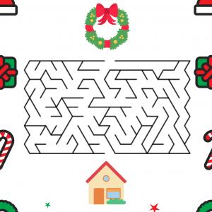 Trouve ton chemin dans le labyrinthe et accroche la couronne de Noël sur la porte d'entrée de la maison.