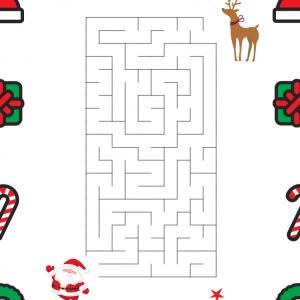 Imprimer le labyrinthe afin d'aider le père Noel à retrouver son renne. Il pourra alors distribuer les cadeaux.