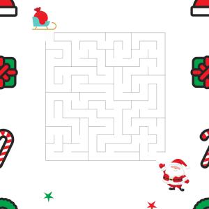 Imprimer le labyrinthe le père Noël et son traîneau. Il en a absolument besoin pour la nuit de Noël.